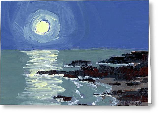 Lobster Point Moon Greeting Card by Mary Byrom
