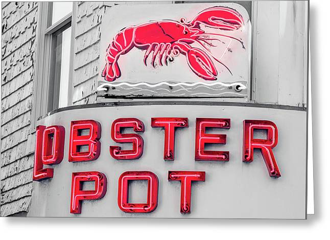 Lobster Pot Neon Provincetown Cape Cod Greeting Card by Edward Fielding
