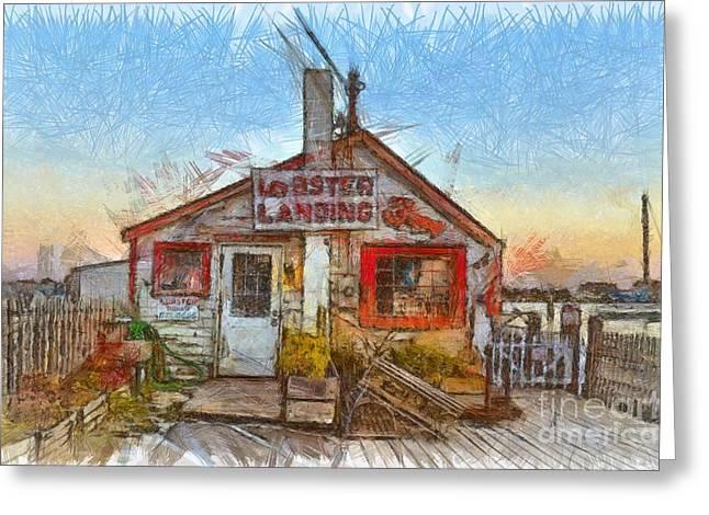 Lobster Shack Pencil Greeting Card by Edward Fielding