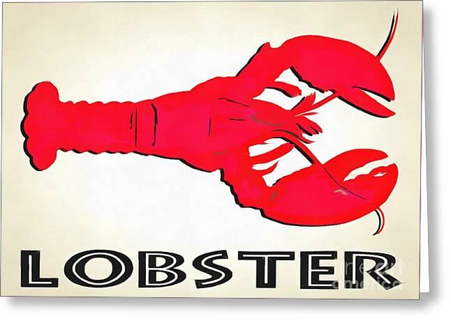 Lobster Sign Folk Art Greeting Card