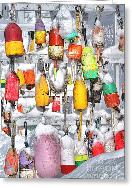Lobster Trap Buoys Collection In Snow Greeting Card