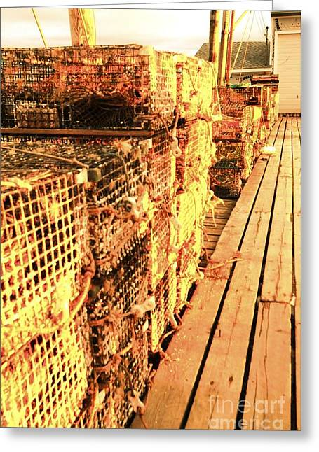 Lobster Traps Greeting Card by Elizabeth Lawrence