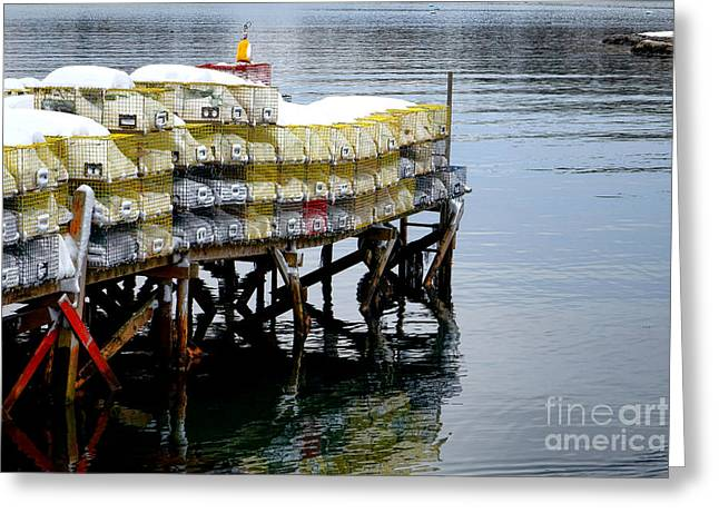 Lobster Traps In Winter Greeting Card by Olivier Le Queinec