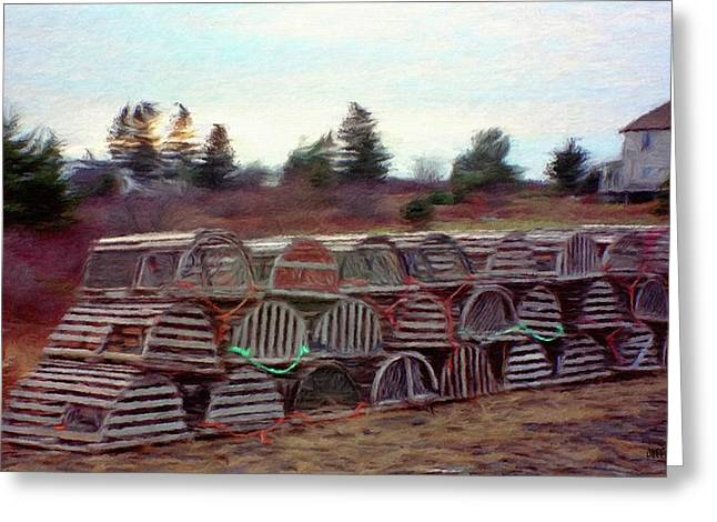 Trap Greeting Cards - Lobster Traps Greeting Card by Jeff Kolker