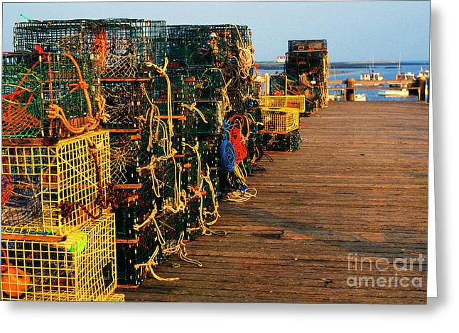 Lobster Traps On Pier Greeting Card by Thomas R Fletcher