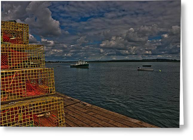 Greeting Card featuring the photograph Lobster Traps On The Dock by David Bishop