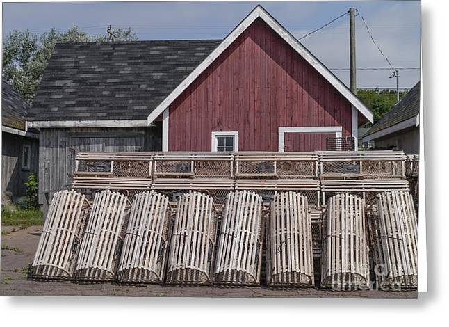 Lobster Traps Prince Edward Island Greeting Card by Edward Fielding