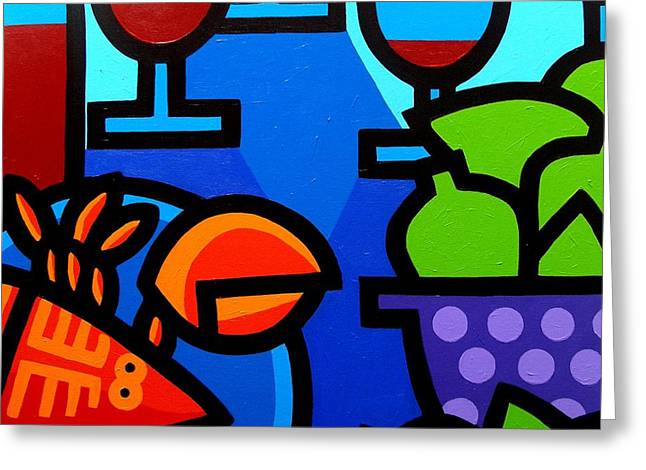 Glass Art Print Greeting Cards - Lobster Wine and Limes Greeting Card by John  Nolan