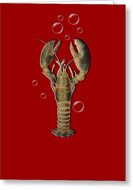 Lobster With Bubbles T Shirt Design Greeting Card by Bellesouth Studio