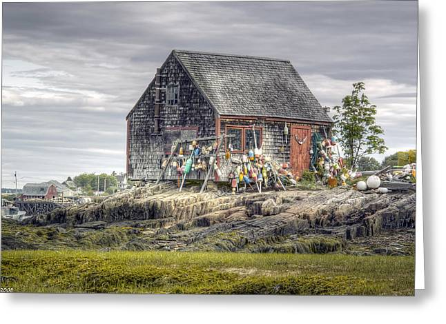 Lobsterman's Shack Of Mackerel Cove Greeting Card by Richard Bean