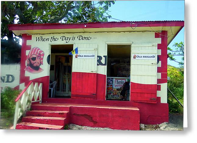 Greeting Card featuring the photograph Local Rum Shop, Barbados by Kurt Van Wagner