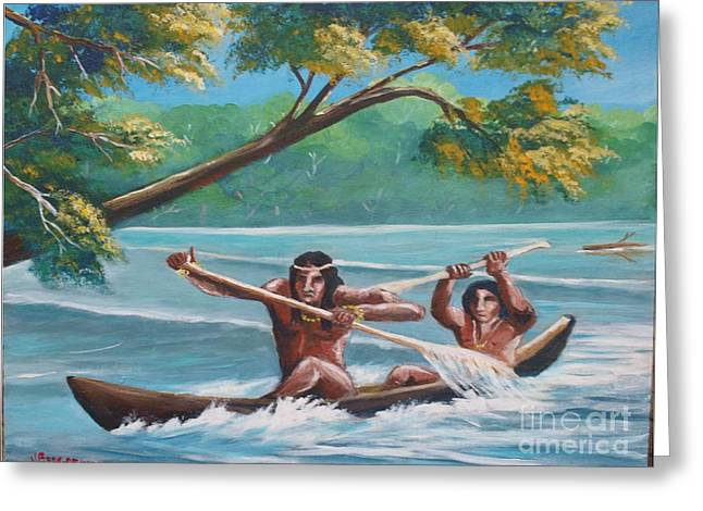 Locals Rowing In The Amazon River Greeting Card