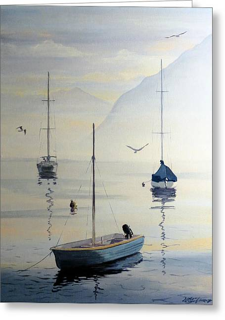 Locarno Boats In February Greeting Card