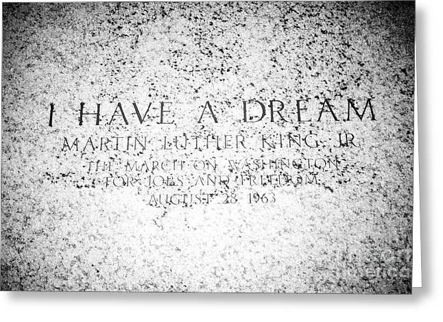 location of the martin luther king I have a dream speech at the lincoln memorial Washington DC USA Greeting Card