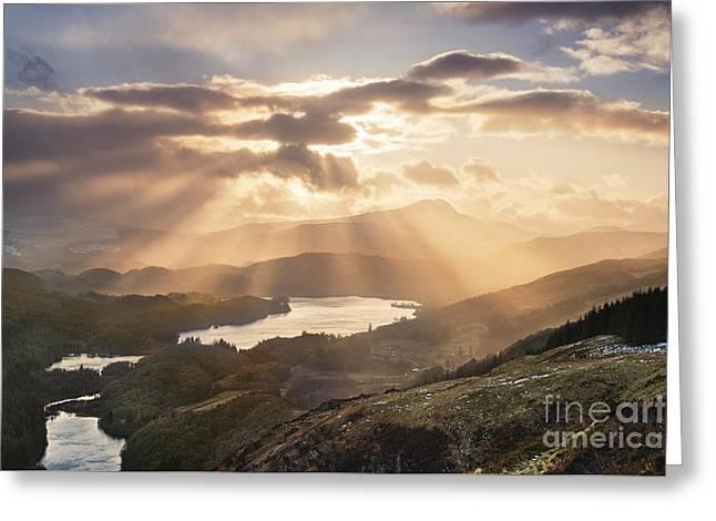 Loch Ard Sunburst 1 Greeting Card by Rod McLean