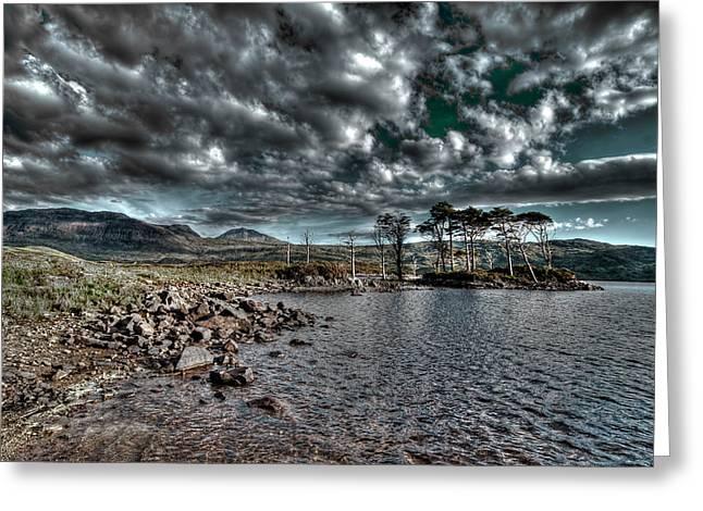 Loch In The Scottish Highland Greeting Card by Gabor Pozsgai