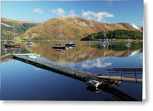 Greeting Card featuring the photograph Loch Leven  Jetty And Boats by Grant Glendinning
