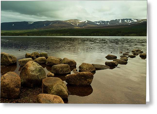 Loch Morlich And The Cairn Gorms Greeting Card by Bill Buchan