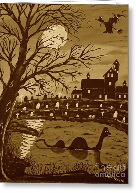 Loch Ness Monster On Halloween Greeting Card