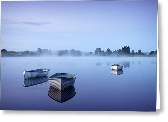 Dinghy Greeting Cards - Loch Rusky Moonlit Morning Greeting Card by David Mould