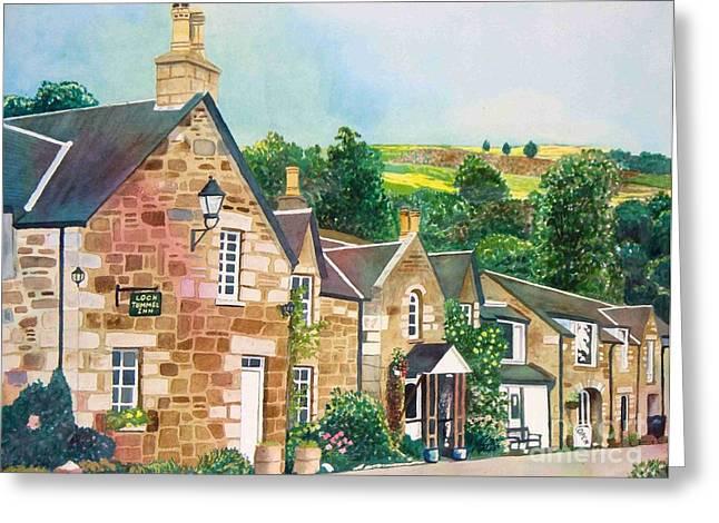 Greeting Card featuring the painting Loch Tummel Innn - Scotland by LeAnne Sowa