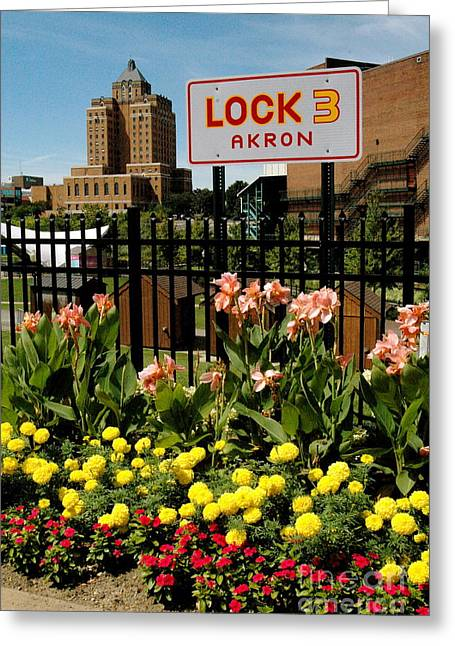 Akron Greeting Cards - Lock 3 Akron Greeting Card by Trish Hale