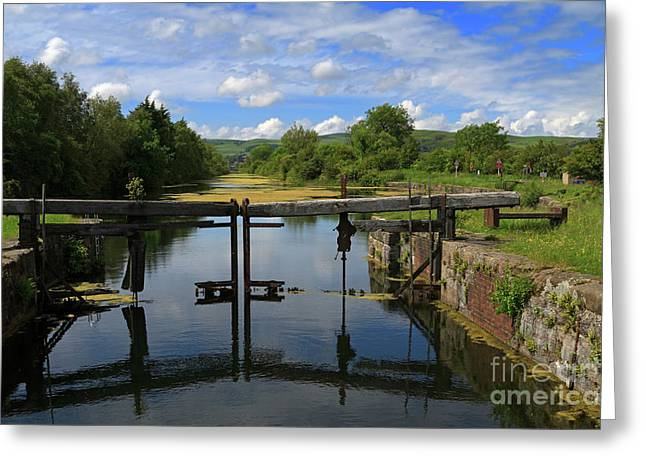 Lock Gates On The Old Canal Greeting Card by Louise Heusinkveld
