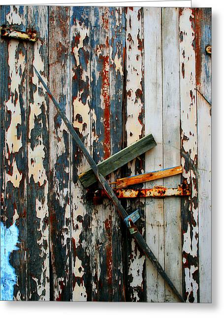 Painted Wood Greeting Cards - Locked Door Greeting Card by Perry Webster