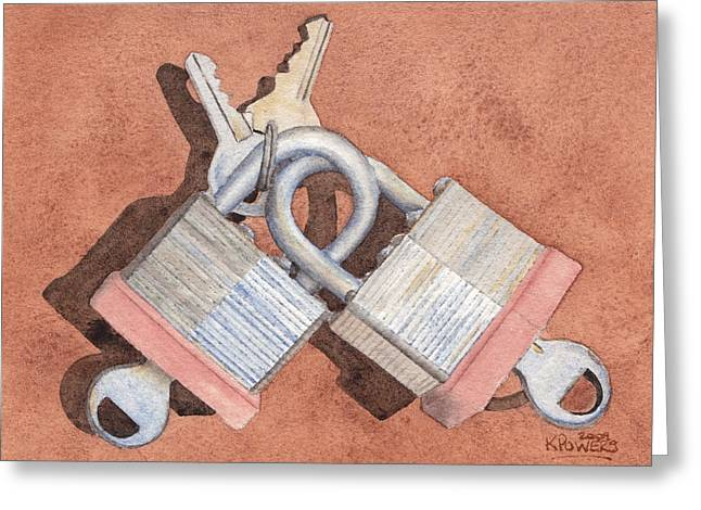 Locked In An Embrace Greeting Card by Ken Powers