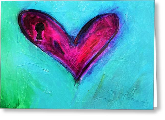 Locked Pink Heart Greeting Card by Ivan Guaderrama
