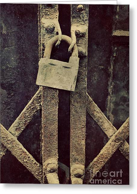 Locked Rusty Door Greeting Card by Mythja Photography