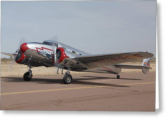 Lockheed 12a Electra Junior Nc18906casa Grande Airport Arizona March 5 2011 Greeting Card by Brian Lockett