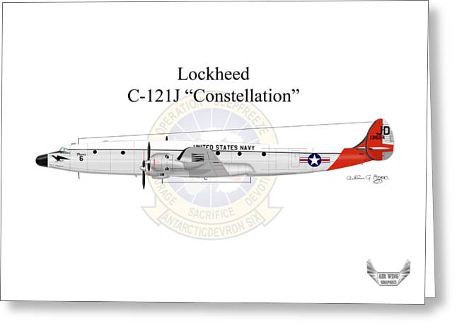 Lockheed C-121j Constellation Greeting Card by Arthur Eggers