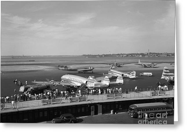 Lockheed Constellation Plane Fueling Up Greeting Card by H. Armstrong Roberts/ClassicStock
