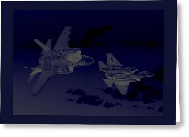Lockheed Martin F-35 Joint Strike Fighters During Joint  Military Exercises In A Forward Area Border Greeting Card