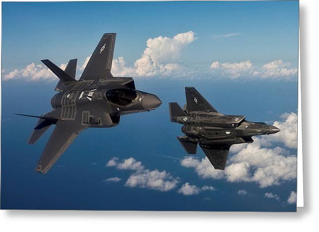 Lockheed Martin F-35 Lightening II Joint Strike Fighters During Military Exercises In A Forward Area Greeting Card