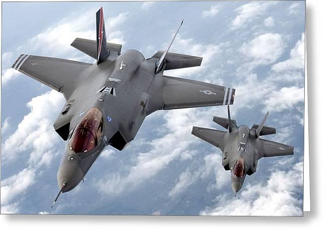 Lockheed Martin F-35 Lightening II Joint Strike Fighters Greeting Card