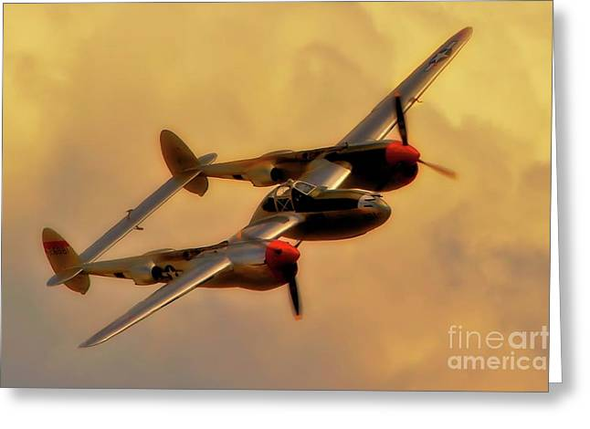 Kelly Greeting Cards - Lockheed P-38 Lightning 2011 Chino Air Show Greeting Card by Gus McCrea