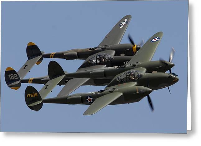 Lockheed P-38 Lightnings Glacier Girl And Skidoo Greeting Card by Brian Lockett