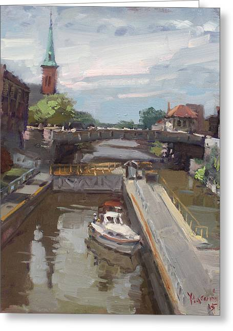 Lockport Locks Greeting Card by Ylli Haruni