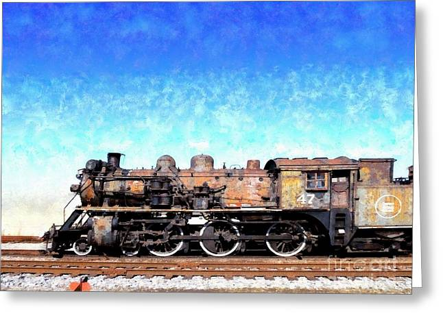 Locomotive #47 Going Down The Railroad Tracks Greeting Card
