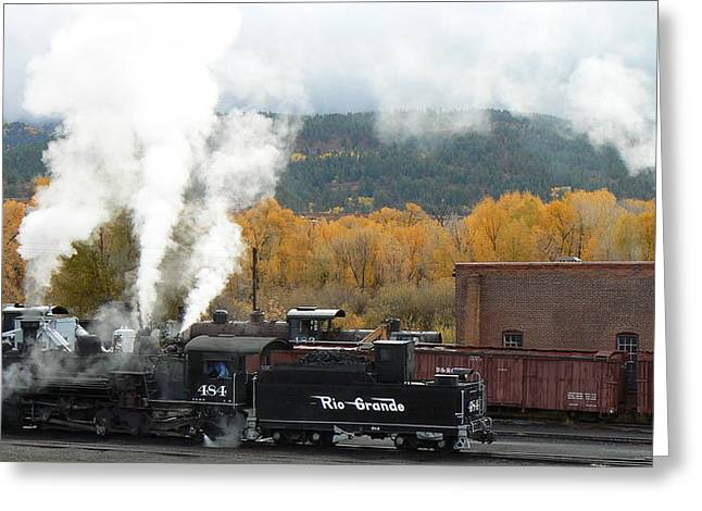 Railyard Greeting Cards - Locomotive at Chama Greeting Card by Scott Rackers