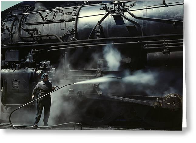 Locomotive Gets A Steam Bath - 1943 Greeting Card