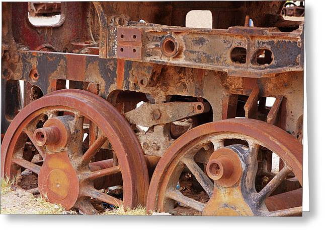 Greeting Card featuring the photograph Locomotive In The Desert by Aidan Moran