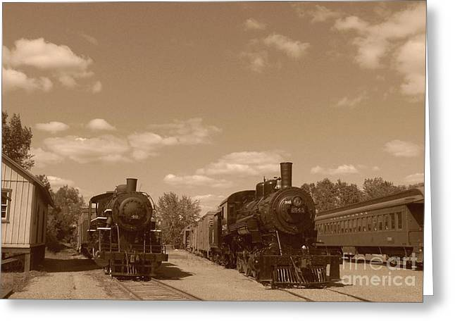 Locomotives In Sepia Greeting Card by Charles Robinson