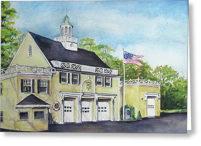 Greeting Card featuring the painting Locust Valley Firehouse by Susan Herbst