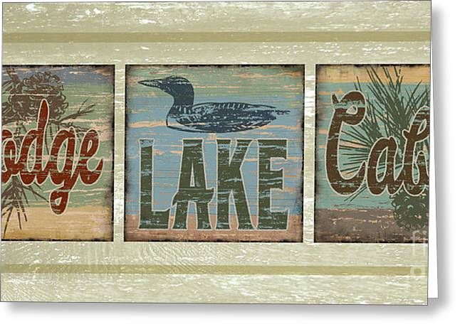 Lodge Lake Cabin Sign Greeting Card by Joe Low
