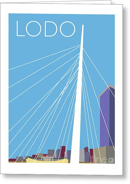 Greeting Card featuring the digital art Lodo/blue by Sam Brennan
