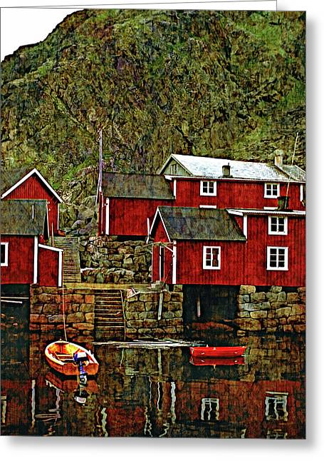 Lofoten Fishing Huts Overlay Version Greeting Card