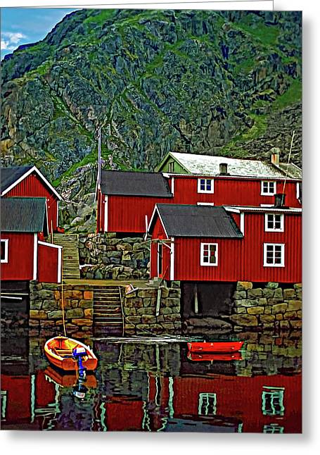 Lofoten Fishing Huts Greeting Card by Steve Harrington